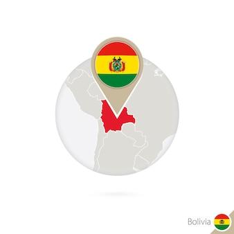 Mappa e bandiera della bolivia in cerchio. mappa della bolivia, perno della bandiera della bolivia. mappa della bolivia nello stile del globo. illustrazione di vettore.