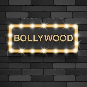 Bollywood cinema indiano film 3d classico film bordo oro testo in 3d