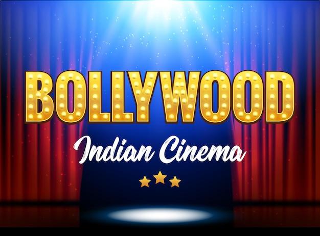 Banner cinematografico del cinema indiano di bollywood. indian cinema logo sign design elemento incandescente con palco e tende.