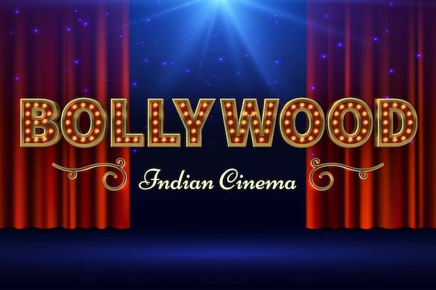 Film indiano di bollywood. poster di film vintage con palcoscenico vecchio e tenda rossa. illustrazione vettoriale