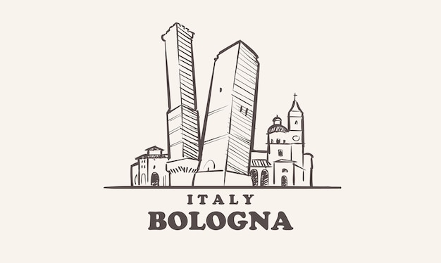 Illustrazione disegnata a mano di italia di schizzo di paesaggio urbano di bologna