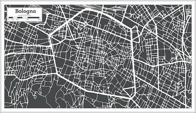 Mappa della città di bologna italia in stile retrò. mappa di contorno. illustrazione di vettore.