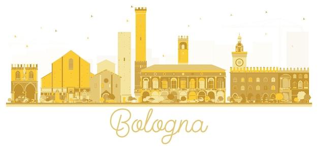 Siluetta dorata dell'orizzonte della città di bologna italia. illustrazione vettoriale. concetto di viaggio d'affari. paesaggio urbano di bologna con punti di riferimento.