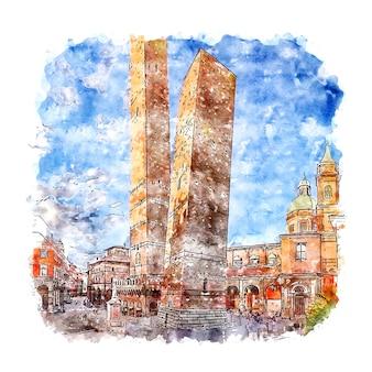 Illustrazione disegnata a mano di schizzo dell'acquerello di bologna italia