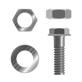 Chiusura a bullone e diversi tipi di dadi illustrazione vettoriale realistico isolato su bianco. dado con foro filettato utilizzato insieme al bullone di accoppiamento per fissare più parti insieme.