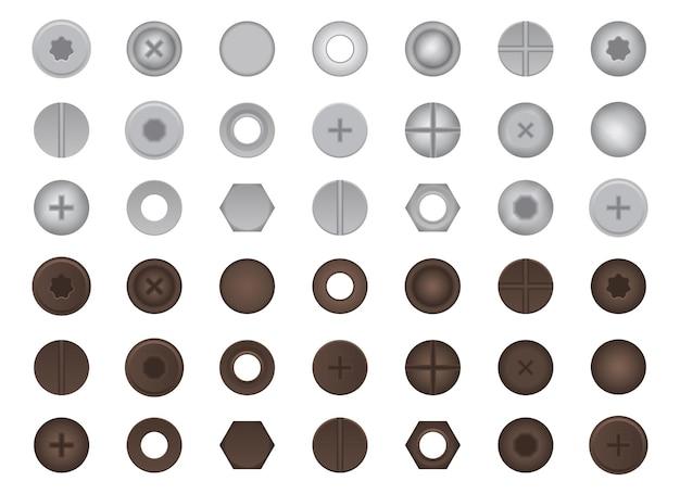Illustrazione del set di bulloni e dadi