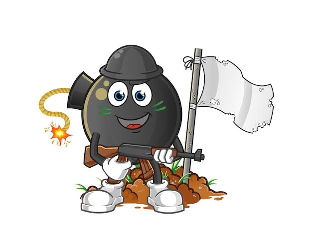 Carattere dell'esercito della bomba. mascotte dei cartoni animati