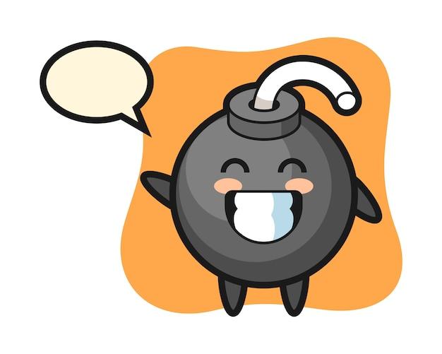Personaggio dei cartoni animati di bomba che fa gesto di mano dell'onda