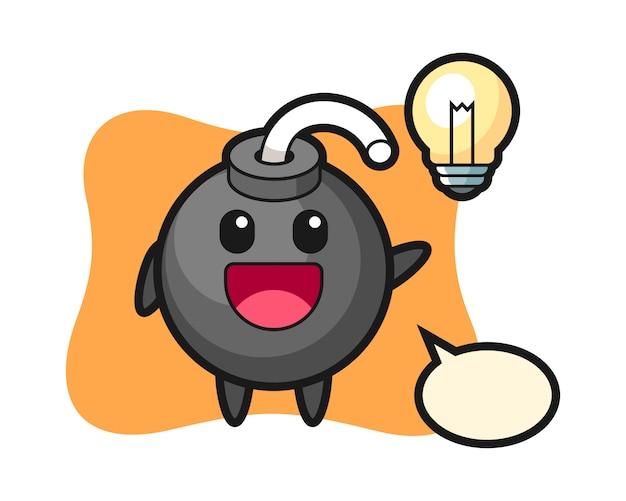 Fumetto del personaggio della bomba che ottiene l'idea