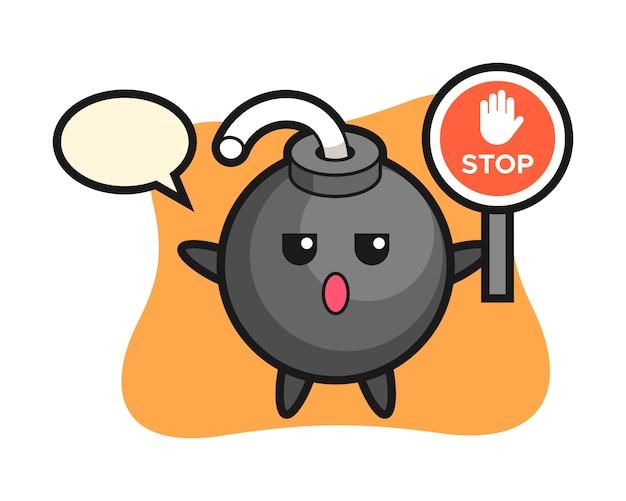 Illustrazione del carattere della bomba che tiene un segnale di stop