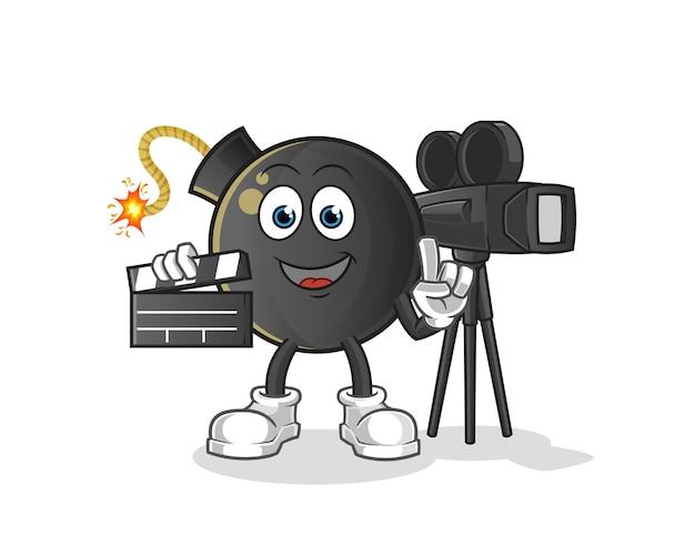 Mascotte del direttore della bomba. cartone animato