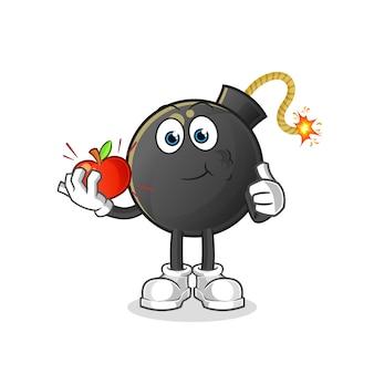 Bomba che mangia un'illustrazione della mela. carattere