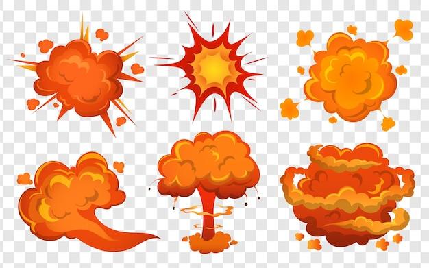 Esplosione di bombe e set di cartoni animati di esplosioni di bombe con scoppio di fuoco