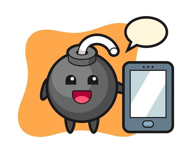 Fumetto dell'illustrazione della bomba che tiene uno smartphone