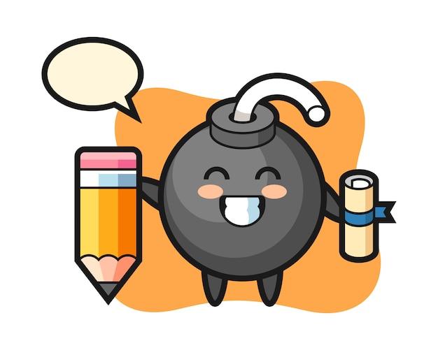 Il fumetto dell'illustrazione della bomba è laurea con una matita gigante