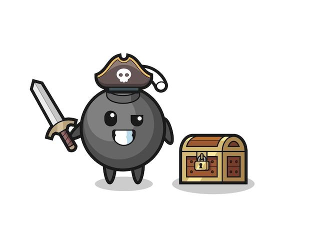 Il personaggio pirata bomba che tiene la spada accanto a una scatola del tesoro, design in stile carino per maglietta, adesivo, elemento logo