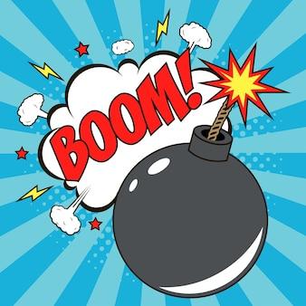Bomba in stile pop art e fumetto comico con testo boom cartoon dinamite