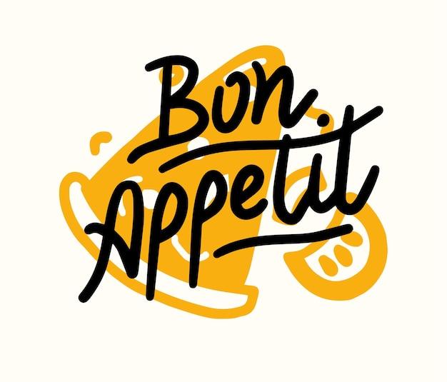 Buon appetito lettering creativo con fetta di pizza. poster di cibo, stampa con elementi disegnati a mano. decorazione della cucina, del bar o del ristorante. decorazione del menu disegnata a mano, tipografia della grafia. illustrazione vettoriale