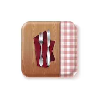 Bon appetit logo cucina concept design. coltello e forchetta su un tavolo di legno con tovaglia. illustrazione realistica