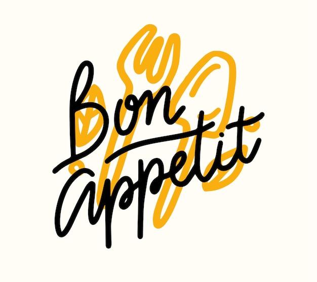 Bon appetit lettering, poster di cibo con forchetta e cucchiaio doodle. elemento di design grafico, stampa per menu, decorazione del caffè