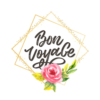 Bon voyage hand lettering calligraphy travel