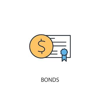 Concetto di obbligazioni 2 icona linea colorata. illustrazione semplice dell'elemento giallo e blu. disegno di simbolo di contorno del concetto di obbligazioni