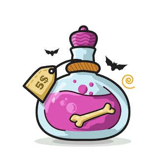 Bottiglia di pozione ossea halloween cute line art illustration