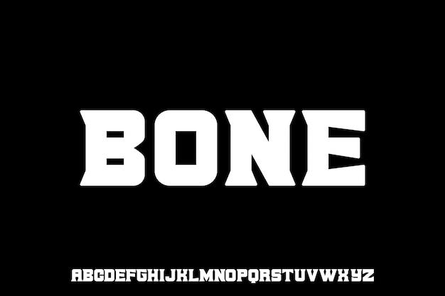 Bone, set di alfabeto di caratteri serif grassetto unico