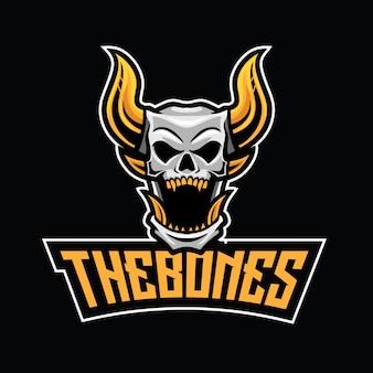 Modello di logo di bones esport