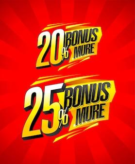 Bonus del 20 percento e del 25 percento in più di set di simboli di vendita