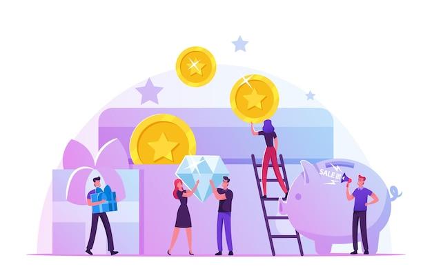 Carta bonus, programma fedeltà, guadagna ricompensa, riscatta regalo, concetto di vantaggi. cartoon illustrazione piatta Vettore Premium