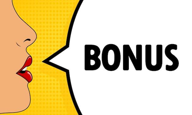 Bonus. bocca femminile con rossetto rosso che urla. fumetto con testo bonus. stile fumetto retrò. può essere utilizzato per affari, marketing e pubblicità. vettore eps 10.