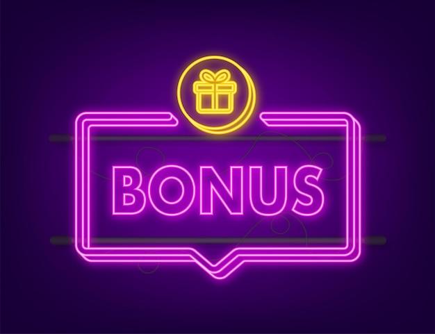Bonus per il design della promozione. icona al neon. modello di promozione banner sconto. modello web per il design promozionale di marketing. illustrazione di riserva di vettore.