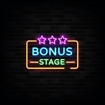 Insegne al neon della fase bonus. insegna al neon del modello di progettazione