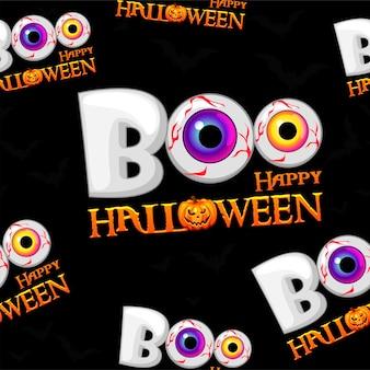 Modello senza cuciture di boo, trama di halloween felice. illustrazione vettoriale di uno sfondo spaventoso con gli occhi per una cartolina.