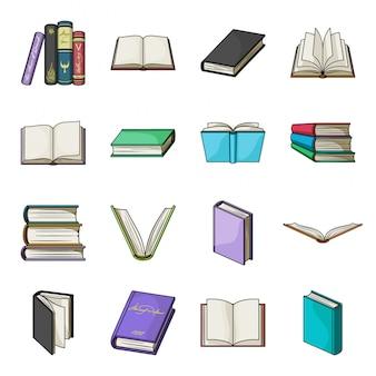 Icona stabilita del fumetto del libro. libro stabilito della biblioteca dell'icona del fumetto isolato. manuale di illustrazione. Vettore Premium