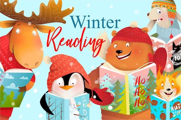Design della copertina del libro per bambini, animali che leggono fiabe natalizie invernali o studiano.