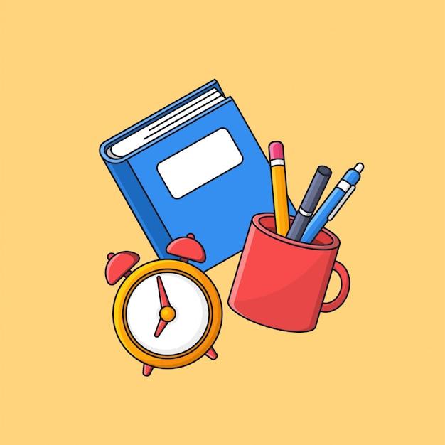 Libro e una tazza piena di strumenti per studenti e illustrazione di sveglia per il ritorno al concetto di scuola con un semplice design piatto minimale