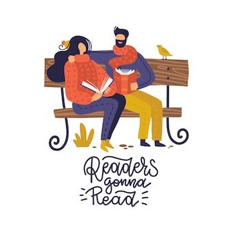 Appassionati di libri, amanti della letteratura, coppia di giovani che leggono sulla panchina nel parco