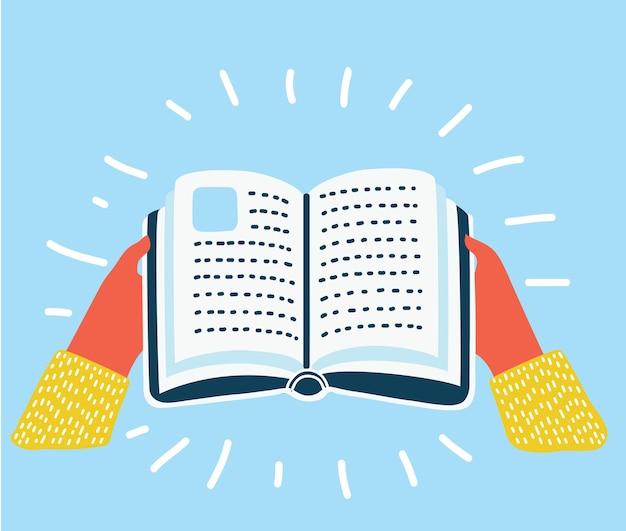 Libro e mani educazione, letteratura, lettura e tema della biblioteca