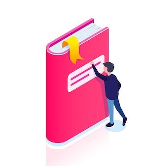 Icona del libro. l'uomo cerca un segnalibro