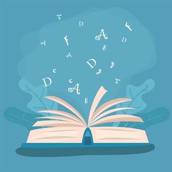 Icone di alfabetizzazione di libri e lettere