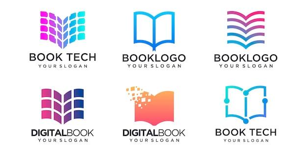 Insieme dell'icona del logo del libro. istruzione piatto disegno vettoriale