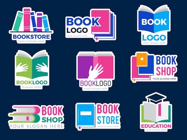 Marchio del libro. la pubblicazione di simboli di identità aziendale ha stilizzato immagini grafiche di vettori di concetti di apprendimento di libri e riviste. scuola di educazione all'illustrazione, editoria di letteratura in libreria