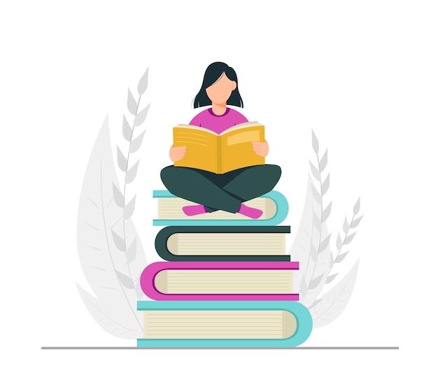 Amante del libro lettura del concetto di biblioteca
