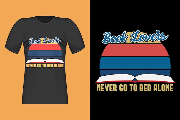 Amanti del libro con disegno a mano retrò vintage t-shirt design