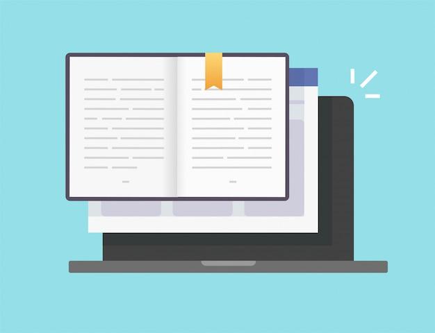Libro o blocco note digitale vettoriale elettronico aperto pagine online con icona di testo