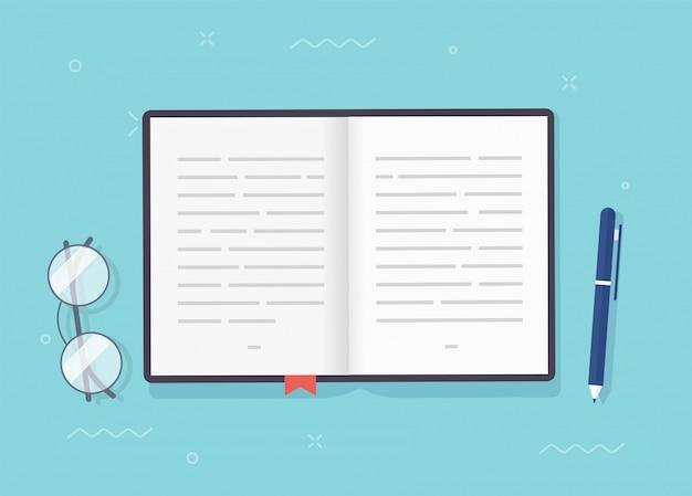 Libro o blocco note vettoriale pagine aperte con testo, taccuino o carta da manuale con segnalibro e penna