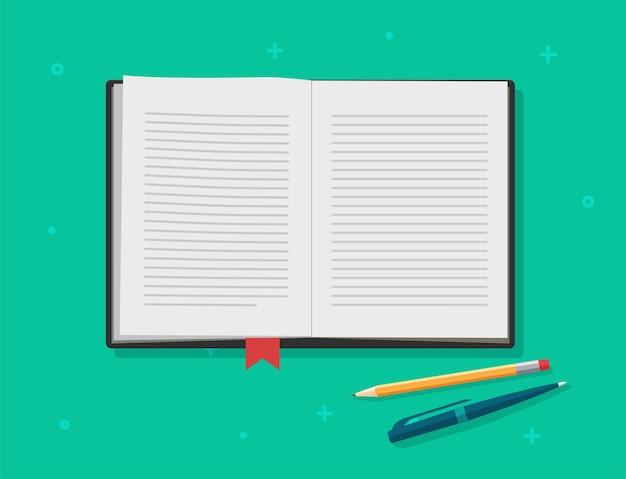 Libro aperto, pagine di testo del libro di testo del diario, blocco note di lettura o carta per quaderno con segnalibro