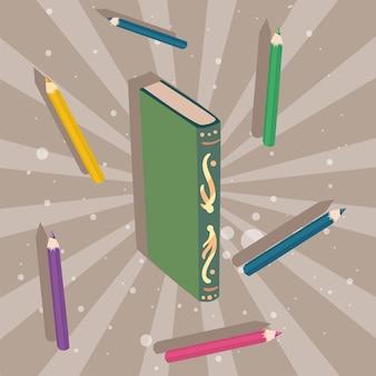 Icone di alfabetizzazione con modelli di libri e matite